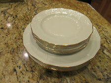 Pirken-hammer Rose China 4 Dinner & 5 Salad Plates White with Gold Trim 9pcs.