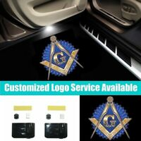 2X Wireless Free and Accepted Masons Logo Led Car Door Welcome Shadow Light