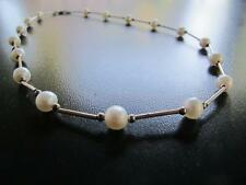 """PEARL NECKLACE Sterling Silver 925 Fresh Water Pearls estate jewelry 17"""" choker"""