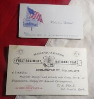 1777-1877 VERMONT NATIONAL GUARD INVITATION SPANISH AMERICAN WAR BUSINESS CARD!