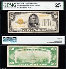 VERY NICE Bold Mid-Grade VF 1928 $50 GOLD CERTIFICATE! PMG 25! FREE SHIP! 99449A