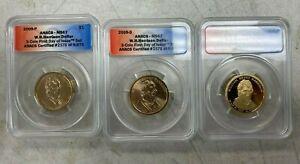 2009 Harrison Presidential Dollar Set ANACS MS67 MS67 PR69 DCAM