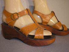 7 New Vtg 70s Gold Brown Leather Hippie Platform Wood Wedge Heel Sandal Nos Shoe