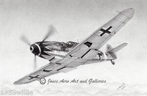 """Messerschmitt Bf-109 """"Erich Hartmann """"Ace of Aces"""" Art Prints by Willie Jones Jr"""