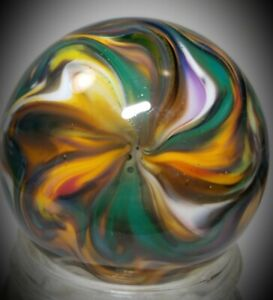 """Rick Davis~MOTHER EARTH~Glass Marble 2012~SIGNED~42MM/1 & 1/2"""""""