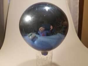 "Antique VICTORIAN COBALT 7"" ORB BALL MERCURY GLASS"