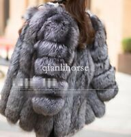 S-4XL womens thicken fox fur outwear parka silver gray coat jacket overcaot warm