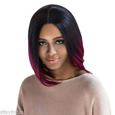AISIHAIR Straight Middle Parting Mixed Colors Wine Red Wigs Blunt Lob Hairstyle