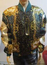 Men's Metallic Silk Vintage Style 90's Scarf Horse Head Hip Hop Bomber Jacket XL