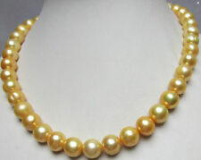 "HUGE NATURAL SOUTH SEA 11-12MM GOLDEN PEARL NECKLACE 18"" 14K GOLD CLASP"