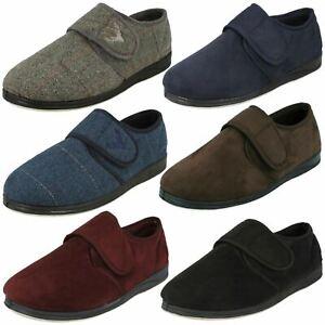 Mens Padders Hook & Loop Textile Comfort Slippers Charles