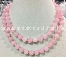 "Elegant 10mm Pink Quartz Crystal Round Beads Gemstones Necklace 35"""