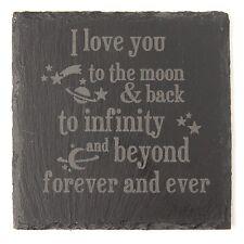 Posavasos DE PIZARRA GRABADO que te amo a la Luna y espalda día de San Valentín Día De Las Madres