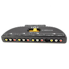 4-Way Audio Video AV RCA Switch Game Selector Box Splitter Black HY