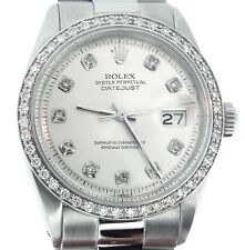 Rolex Datejust Mens Stainless Steel Silver Diamond with President Style Bracelet