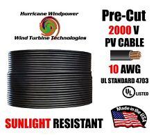 10 AWG Gauge PV Wire 1000/2000 Volt Pre-Cut 15-500 Ft for Solar Installation