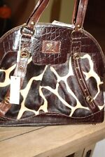 Marco Buggiani Brown Leather  Croc & Animal Print Hobo Bag Purse handbag NWT (7A
