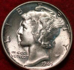 Uncirculated 1945 Philadelphia Mint Silver Mercury Dime