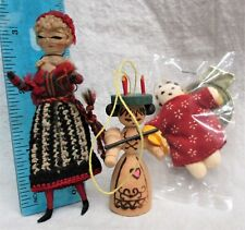 """Antique cloth Doll 3"""" yarn and wire Doll House Doll Wooden Sweden orn Rag Doll"""