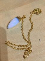 Pendulum Crystal Moonstone Crystal With Pentagram Gold Plated Pagan Wiccan NEW