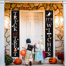 Trick or Treat Halloween Party Banner Flag Home Door Hanging Sign Porch Decor