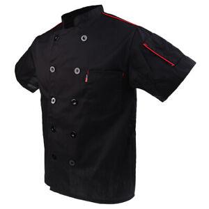 Men Women's Chef Jacket Coat Short Sleeve Uniform Restaurant Hotel Black M