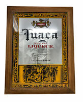 """Tuaca Imported Liqueur Mirrored Wall Hanging Sign 20"""" x 16"""" Wood Frame Man Cave"""