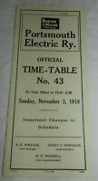 1918 Portsmouth Eletric Railway Time Table No. 43