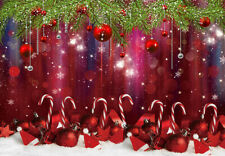 Red Christmas Balls Snow Candy Cane Studio Backdrop 7x5ft Vinyl Photo Background