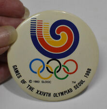 Vintage 1988 Seoul Olympic Pinback Games of the Xxivth Olympiad Slooc Pin