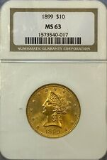 NGC MS63 1899 $10 Liberty Gold Coin.! Choice BU.! NR.!