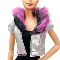 Barbie Fashionistas Silver Jacket Faux Fur Collar Detailing Cap Sleeves New