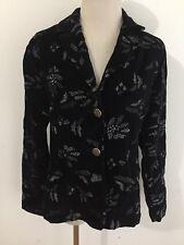 CHICO'S Blazer Jacket Black Velvet w/Silver/Gray Metallic Embroidery Size 0