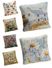 Tapestry Floral And Country Scene Cushion Covers - Rope Trimmed - Free Delivery