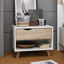 Pair of Nordic 1 Drawer Bedside Cabinets / Nightstands / Bedside Tables