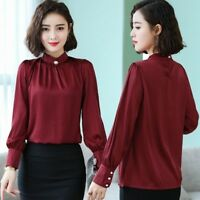 Lady Faux Silk Shirt Satin Top Pullover Retro Pleated Blouse Long Sleeve Elegant