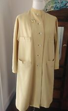Vintage 60's Yellow Dress Coat W/ Cable Sweater Accents Plus Free Brooch Bonus