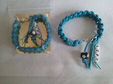 Leicester City football bracelet, waxed cotton with LCFC in beads in the fringe.