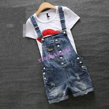 Womens Korean Suspender Ripped Hole Jeans Short Pants Denim Overalls Jumpsuits