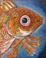 Tropical pet aqua A BIG GOLD FISH 8x10 oil painting original art signed Crowell