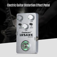 Mini Electric Guitar Distortion Effect Pedal True Bypass Full Metal Silver D7F2
