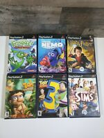 6 PS2 GAME LOT FROGGER, NEMO, HARRY POTTER, TAK, TOY STORY 3 & THE SIMS COMPLETE