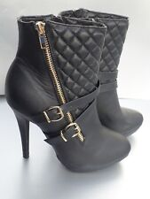 BLACK STILETTO ANKLE BOOTS WOMENS SIZE 6 -SPIRIT MODA