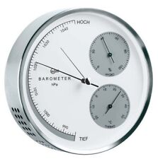 BARIGO Steel Weather Station Stainless Steel Brushed Barometer Thermo Hygrometer 160mm