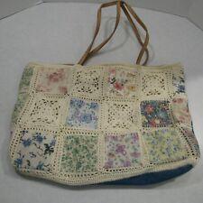 Cappelli Straworld Handbag Crochet Patchwork Bag Floral Hippie Festival Boho