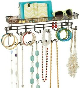 mDesign Hanging Jewellery Organiser - Jewellery Storage with Shelf and 19 Hooks