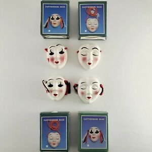 LOT 4 SMALL Earthenware Mask Drama Actor Décor black white red 430360