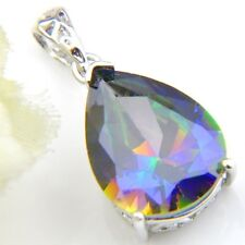 New Teardrop Shaped Rainbow Mystic Topaz Gemstone Silver Drop Necklace Pendants
