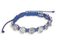 Blue St Saint Benedict Silver Tone Bracelet Cord Azul Pulsera De San Benito