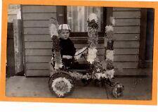 Real Photo Postcard RPPC - Boy in Patriotic Wagon - Drake Studio Aurora IN